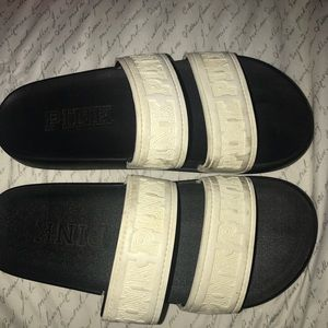 VS Pink Double Strap Slides